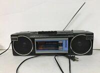 Crown Japan P-420Vintage Portable Boombox Stereo Cassette Recorder FM/AM Radio