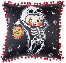 Sourpuss Kewpie Skeleton Throw Pillow NEW Halloween Tattoo Flash Red Spooky Pump