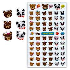 BEAR GEL STICKERS Sheet Happy Panda Teddy Animal Craft Scrapbook Sticker 329