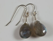 Labradorite Faceted Drop Sterling Silver Earrings French Earwire Pear Shaped