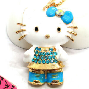 Blue Enamel Cute Bow Kitty Cat Crystal Betsey Johnson Chain Necklace