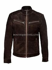 Mens Fashion Leather Jacket Brown Suede SOFT REAL SUEDE Biker Style 8334