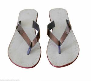 Women Slippers Indian Handmade Leather Flip-Flops Cream Slip Ons US 5