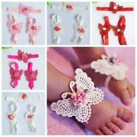 3pcs Lace Sandals Barefoot Foot Flower Hairband Butterfly Baby Headband