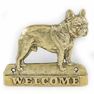 """French Bulldog - brass tablet """"WELCOME"""" with image of a dog, Art Dog AU"""