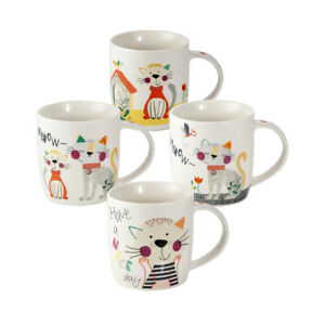 Cat Mugs Cups for Tea Coffee Set of 4 Porcelain China Cat Lovers Gift