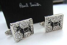 Paul Smith Dog Cufflinks BLACK ENAMEL CRYSTAL with SIGNATURE Swings