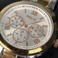 Relic Watch Womens Bold Copper Bronze & Silver Tone Bling Multi Dial