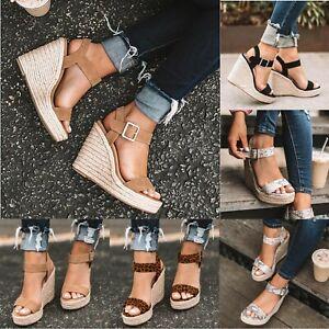 Womens Platform Wedges High Heels Sandals Ladies Summer Espadrilles Comfy Shoes