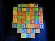48 Vintage Wooden Alphabet, Numbers, Animal Building Blocks Toys Vibrant Colors