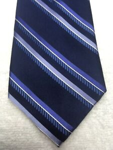 MICHAEL KORS MENS TIE NAVY BLUE WITH BLUE STRIPES 3.5 X 63 EXTRA LONG