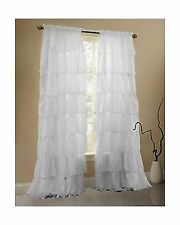 Gee Di Moda Ruffle Curtains Rod Pocket Window with 60Wx63L - Inches (White)