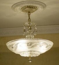 929x Vintage 30s 40s  arT DEco Ceiling Light Lamp Fixture Chandelier