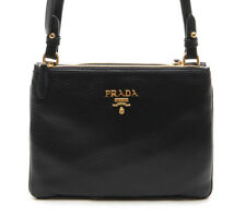 PRADA Womens Black Calf Leather Double Zipper CrossBag HandBag Authentic 1BH046