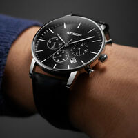 Chronograph Classic Men Watch Luxury Quartz Leather Strap Swiss Wristwatch Steel