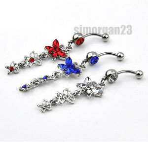 10mm Crystal Butterflies Pendant Navel Ring Belly Body Piercing Jewellery 316L