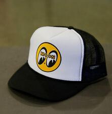 Men's Mooneyes Black White Snapback Trucker Hat with Classic Logo and Mesh CM002