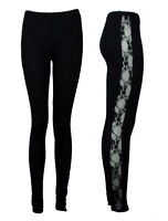 NEW WOMENS LACE SIDE PANEL FULL LENGTH LADIES FASHION LEGGINGS SIZE 8 10 12 14