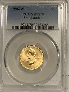 1996-W $5 Smithsonian Gold Commemorative Coin PCGSMS70