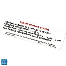 1972-1975 Chevy Cars Cooling System Warning Decal Dc0423 Ea