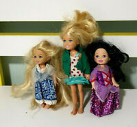Lot of 3x Mattel Barbie Kelly Dolls 10-13cm Tall!