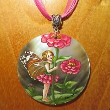 Pendant Zinnia Girl FLOWER FAIRY Genuine Russian Hand Painted Shell signed Gift