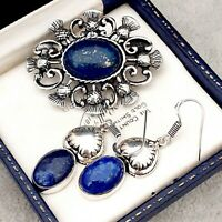 Vintage Style Lapis Lazuli Blue Gemstone Celtic Scottish Thistle Pewter Brooch