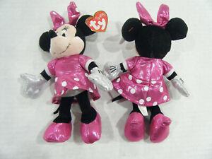 "New TY Beanie Baby 8"" Disney Sparkle Minnie Mouse Plush w/ Ty Heart Tags"