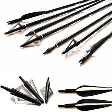 12 Flechas Tiro Con Arco en/off box punta & 12 Broadhead De Campo Y Blanco,