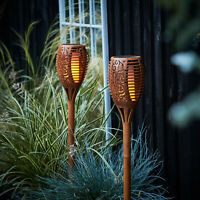 Set of 2 Solar Flickering Flame Tiki Torch Lights for Outdoor U