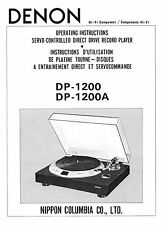 DENON DP-1200 and DP-1200A TURNTABLE OPERATING INSTRUCTIONS 20 Pages