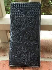 QUALITY! Black Genuine Leather Men's long Wallet Western Rodeo cowboy Wallet