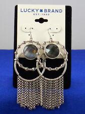 Lucky Brand Silvertone Gray Set Stone Chain Fringe Chandelier Earrings JLRY9537