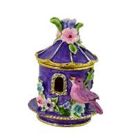 PURPLE BIRDHOUSE WITH FLOWERS TRINKET BOX BEJEWELED BIRD HINGED JEWELRY BOX NEW
