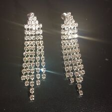 K09 Silver clip on dangle drop earrings with strands of glittering crystals BOXD