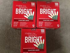 3 sets of 100 Clear Mini Lights (total 300 Lights) In or Outdoor (Lot L-1)