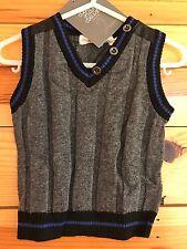NWT Deux Par Deux Boys Gray Mix Sweater Vest Size 6 Months
