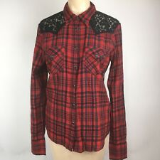 Denim & Supply Ralph Lauren Womens Sz M Red Plaid Pearl Snap Button Down Shirt
