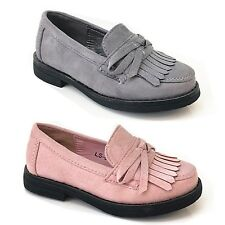 New Girls Kids Children Faux Sudden Tassels Comfy Loafers Flat Shoes