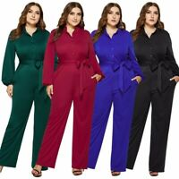 Womens Plus Size Party Ladies Sexy Long Jumpsuits Long sleeve Sexy Rompers dress