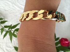 """Lifetime 12mm 9"""" 18k Gold Plated Chain Bracelet Men's Birthday Gift"""