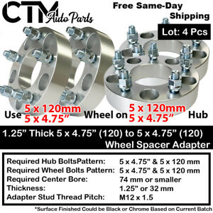 """4PCS 1.25"""" THICK 5x4.75(5x120) TO 5x4.75(5x120) WHEEL ADAPTER FIT CHEVY GMC MORE"""