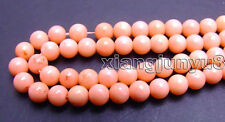 "6-7mm Round Pink Natural Coral Loose Beads for Jewelry Making DIY 15"" Strand 380"