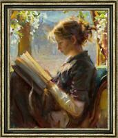 "Hand-painted Oil painting art Original Impressionism girl book on Canvas 24""x36"""