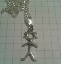 """TIBETAN SILVER MATCHSTICK MAN  PENDANT SILVER PLD 18""""or20""""CHAIN NECKLACE"""
