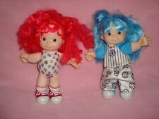 """Fisher Price Color Me Cuties Blue & Pink Hair Plush & Plastic Doll Lot 8"""" tall"""