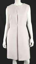 JIL SANDER Powder Pink Cotton Crepe Pleated Detail Sheath Dress 38