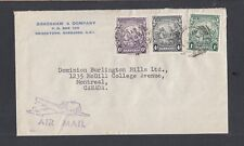 BARBADOS 1947 THREE COLOR FRANKING AIRMAIL COVER BRIDGETOWN TO MONTREAL CANADA