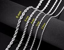 """18"""" 3mm Stainless Steel Twisted Rope Chain Pendant Silver Tn Necklace STT3S"""
