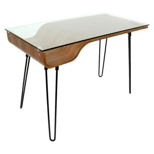 LumiSource Avery Desk, Walnut, Clear, Black - OFD-AVERYWL